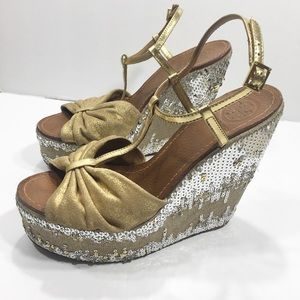 Tory Burch gold Silver Sequin Wedge Sandals